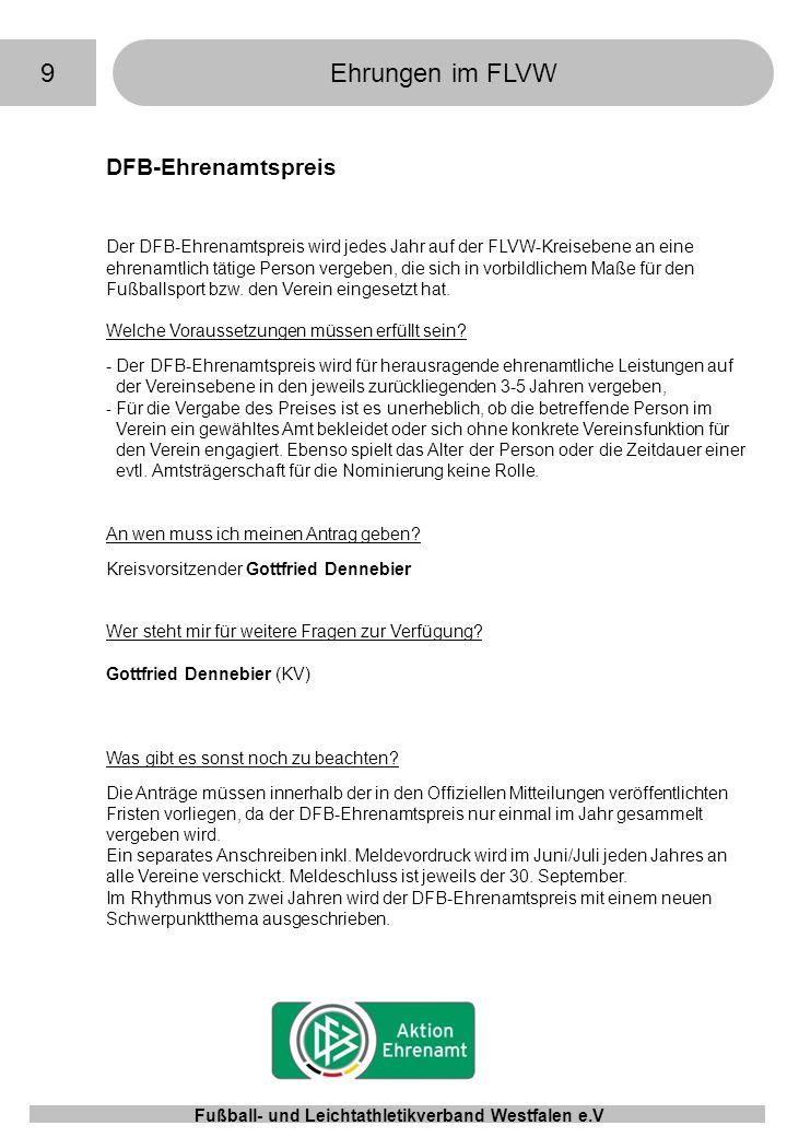 9 Ehrungen im FLVW DFB-Ehrenamtspreis
