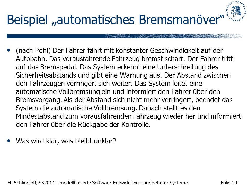 """Beispiel """"automatisches Bremsmanöver"""