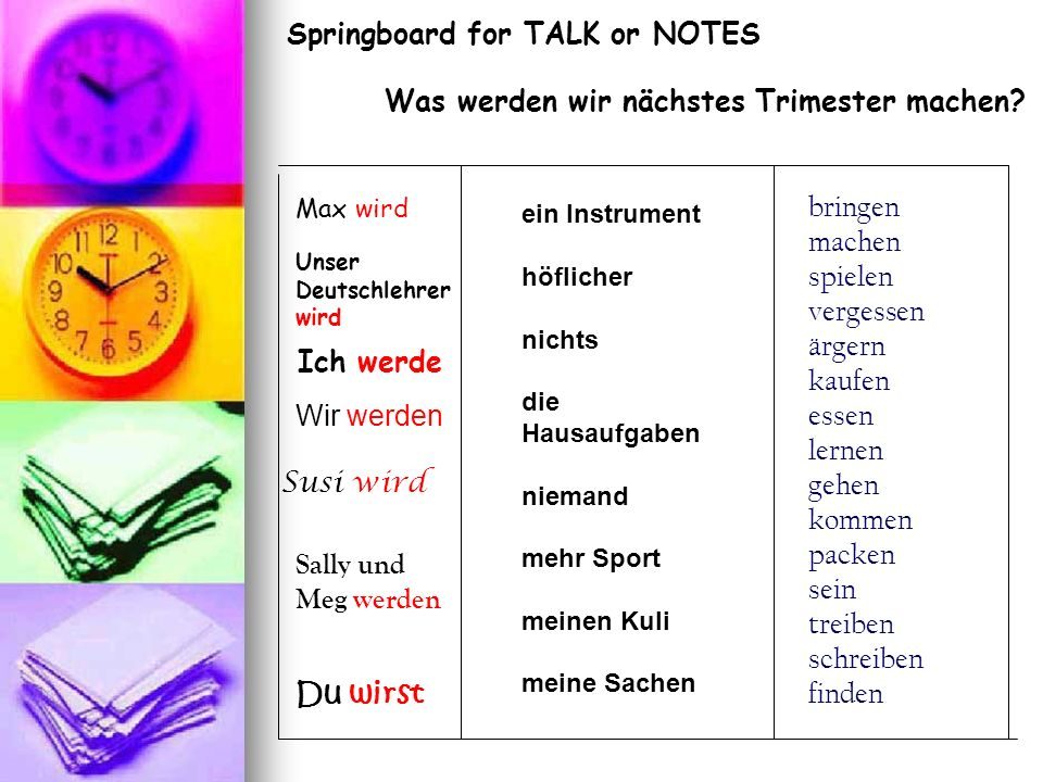 Springboard for TALK or NOTES