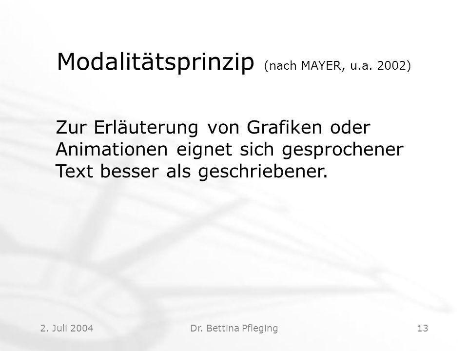 Modalitätsprinzip (nach MAYER, u.a. 2002)