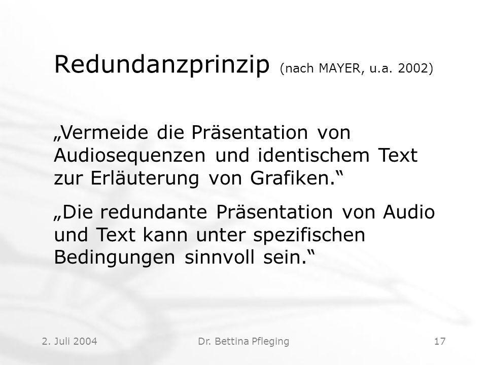 Redundanzprinzip (nach MAYER, u.a. 2002)