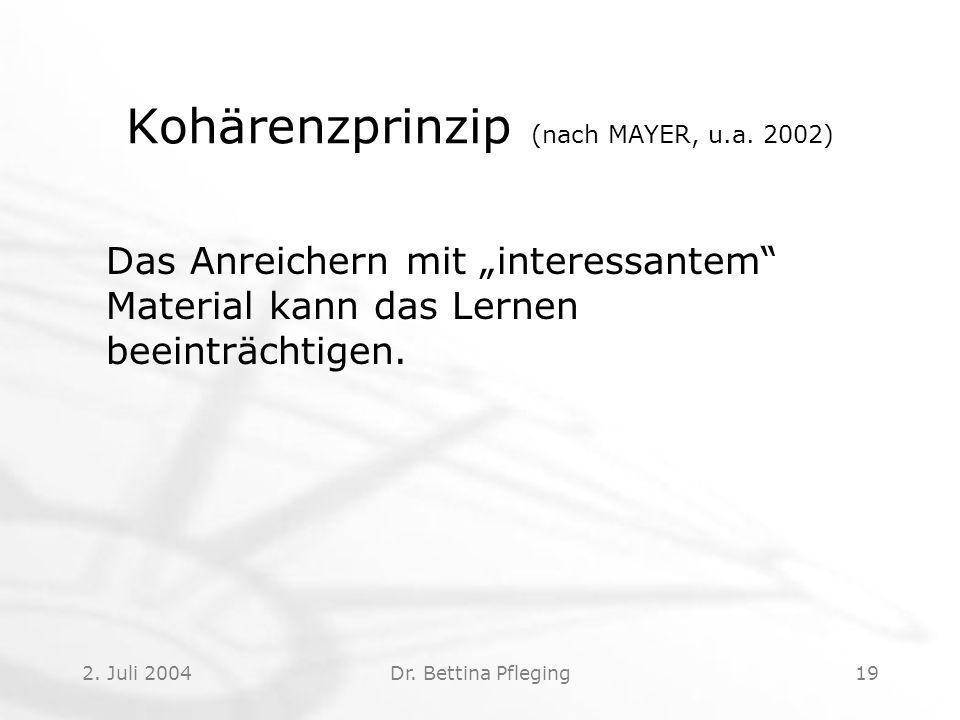 Kohärenzprinzip (nach MAYER, u.a. 2002)