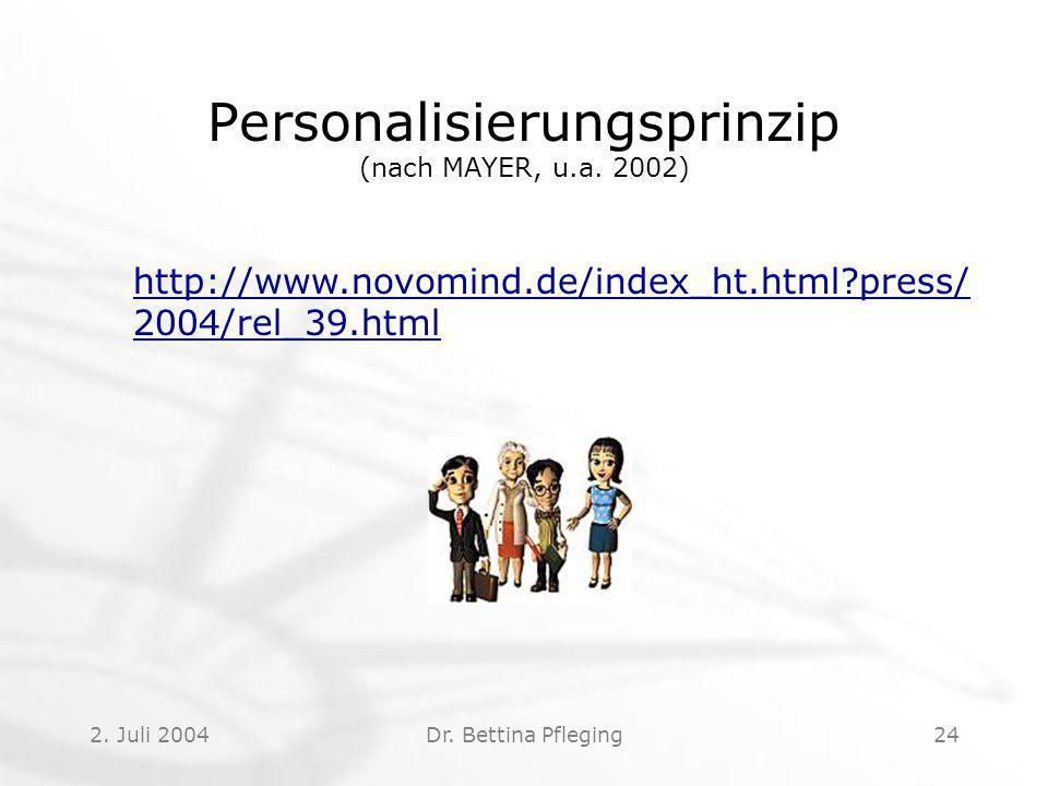 Personalisierungsprinzip (nach MAYER, u.a. 2002)