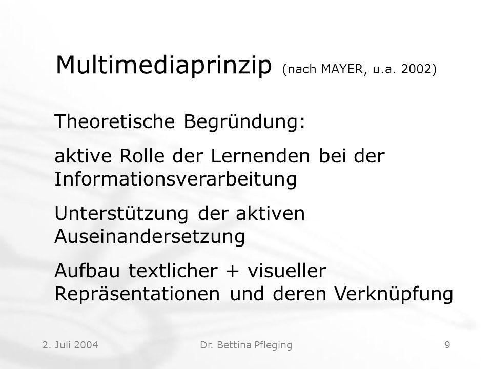 Multimediaprinzip (nach MAYER, u.a. 2002)