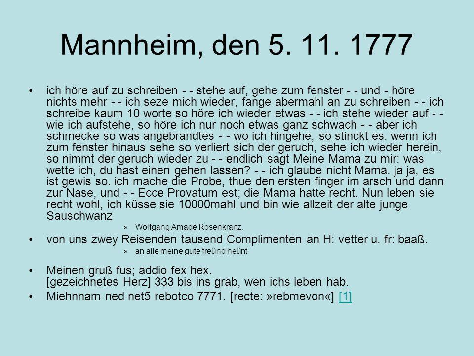 Mannheim, den 5. 11. 1777