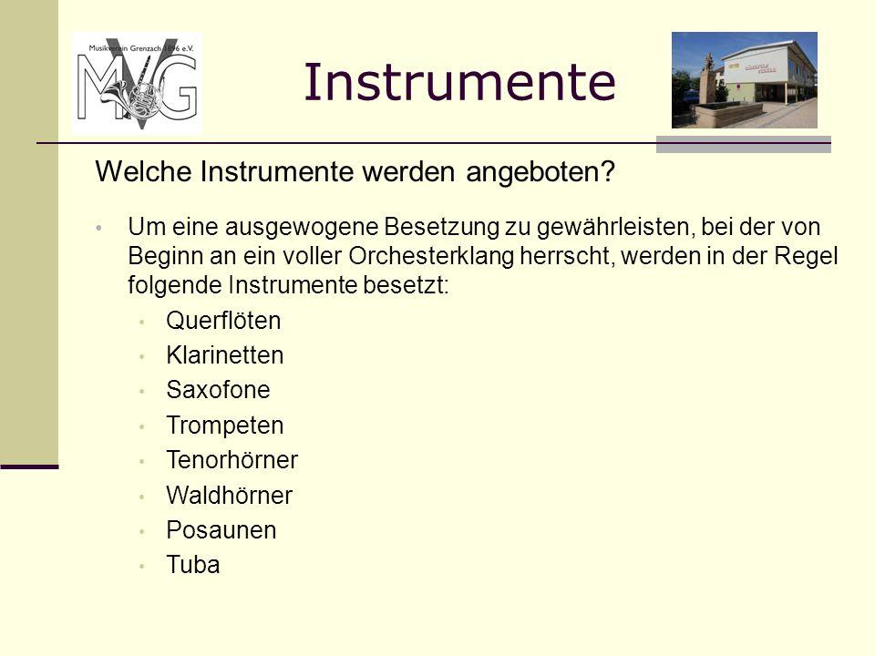 Instrumente Welche Instrumente werden angeboten