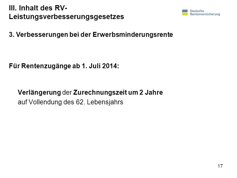 III. Inhalt des RV-Leistungsverbesserungsgesetzes