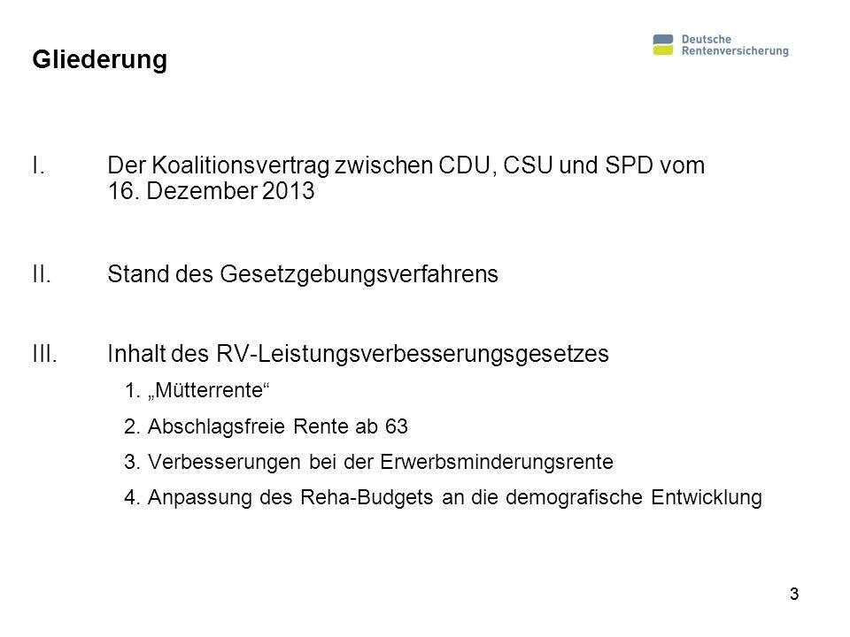 Gliederung Der Koalitionsvertrag zwischen CDU, CSU und SPD vom 16. Dezember 2013. Stand des Gesetzgebungsverfahrens.