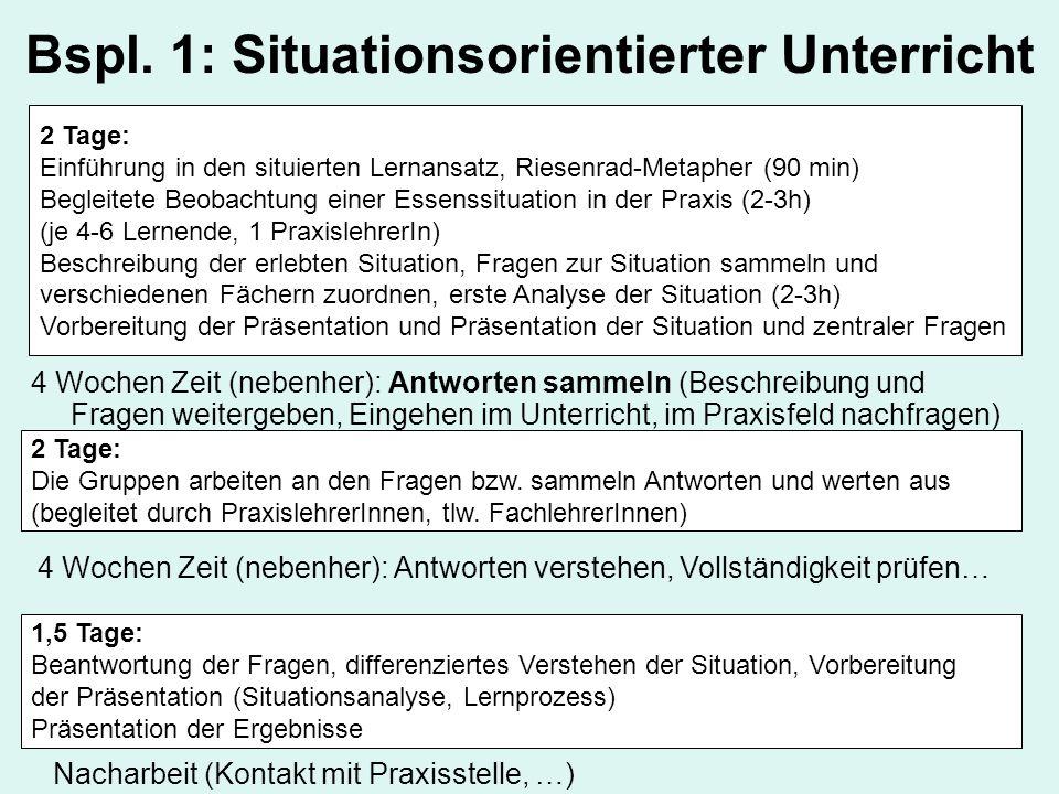 Bspl. 1: Situationsorientierter Unterricht