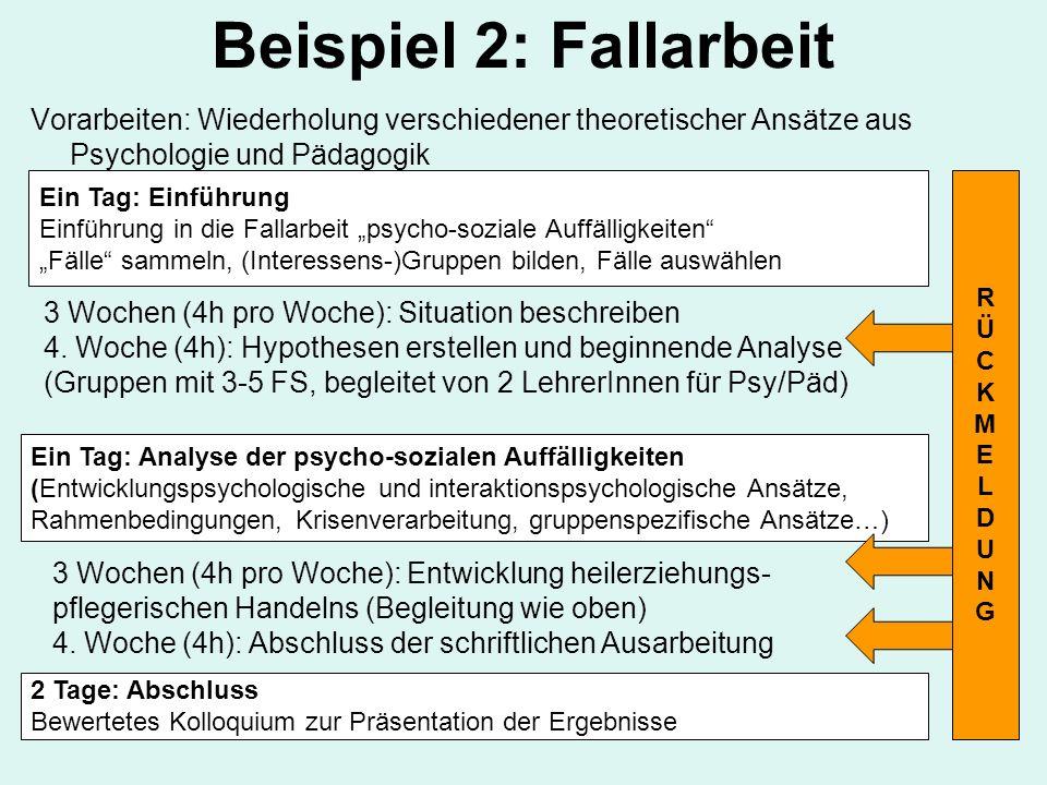Beispiel 2: Fallarbeit Vorarbeiten: Wiederholung verschiedener theoretischer Ansätze aus Psychologie und Pädagogik.