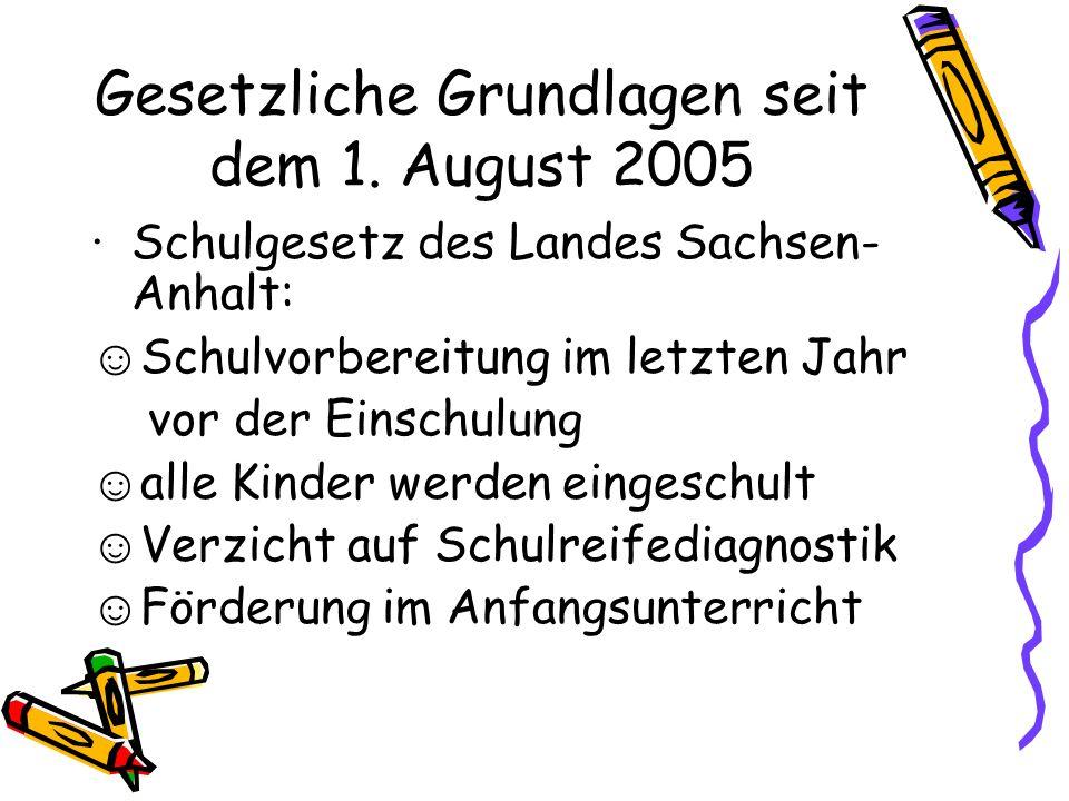 Gesetzliche Grundlagen seit dem 1. August 2005