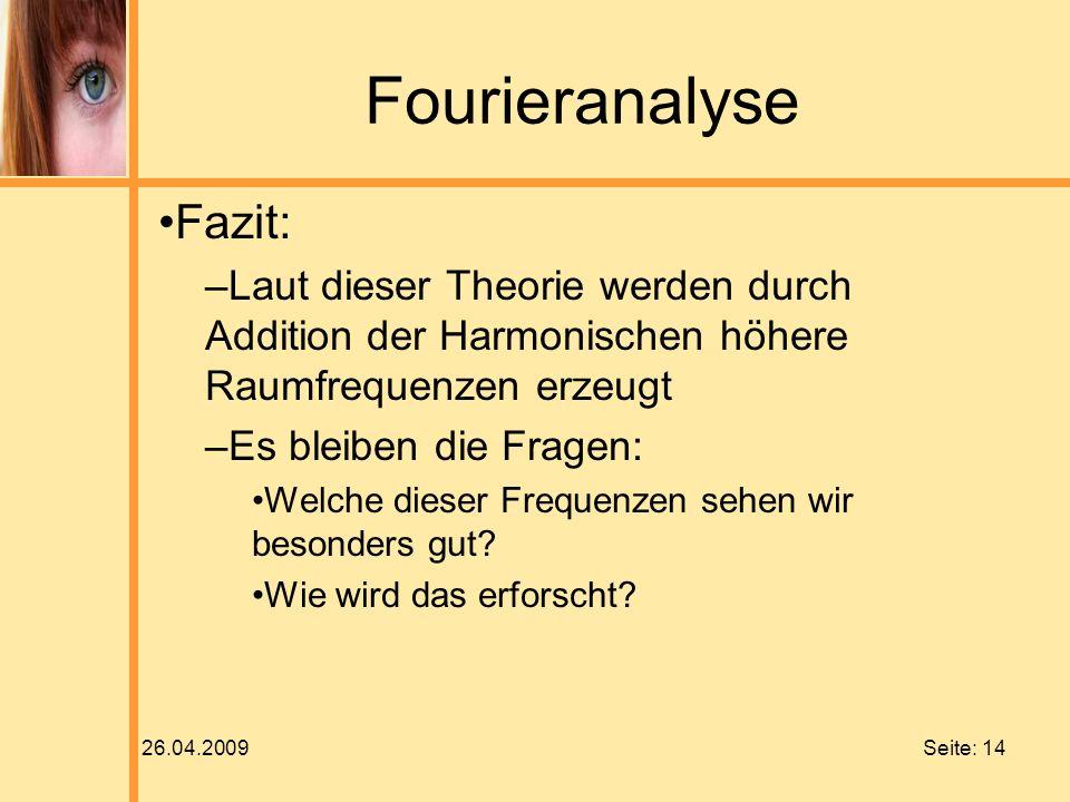 Fourieranalyse Fazit: