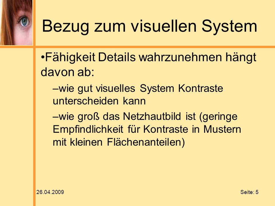 Bezug zum visuellen System