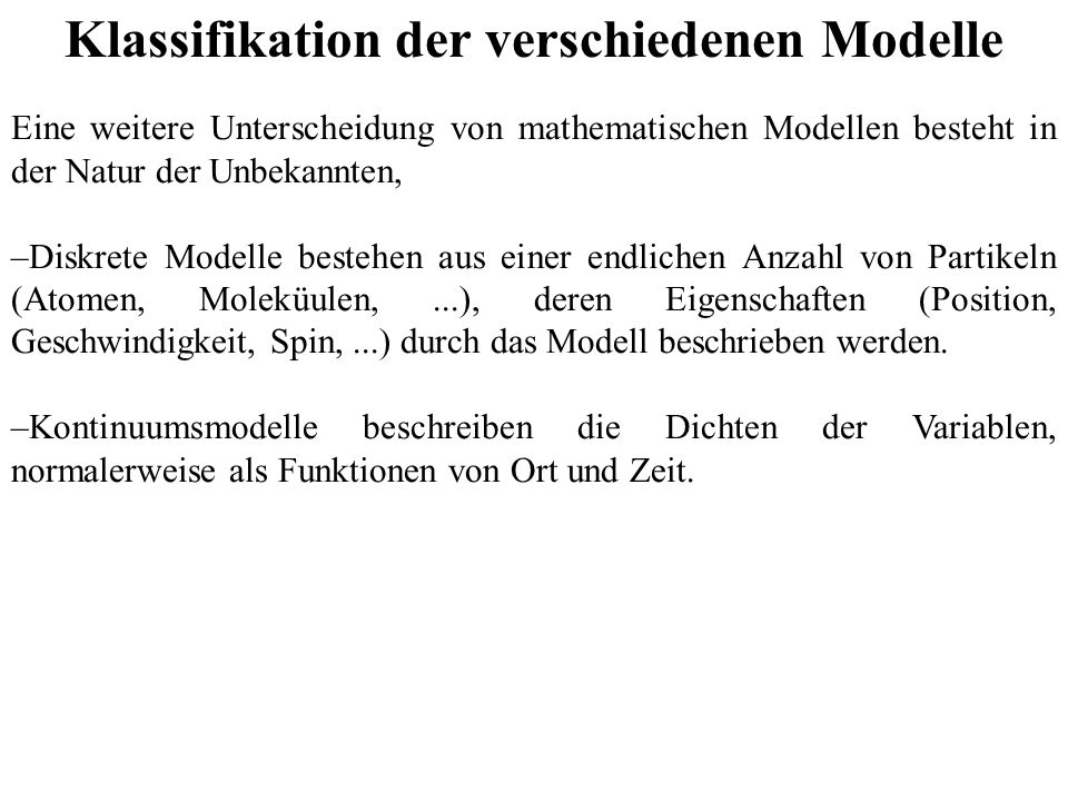 Klassifikation der verschiedenen Modelle