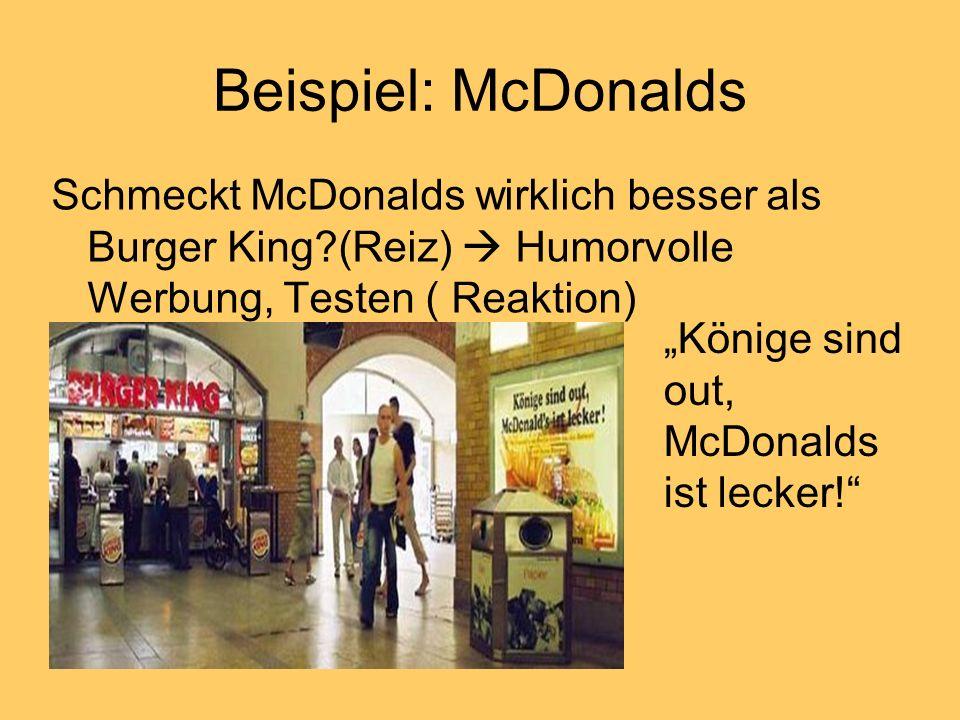 Beispiel: McDonalds Schmeckt McDonalds wirklich besser als Burger King (Reiz)  Humorvolle Werbung, Testen ( Reaktion)