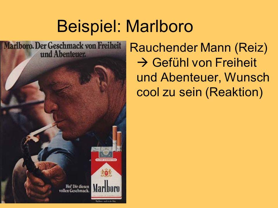 Beispiel: Marlboro Rauchender Mann (Reiz)  Gefühl von Freiheit und Abenteuer, Wunsch cool zu sein (Reaktion)
