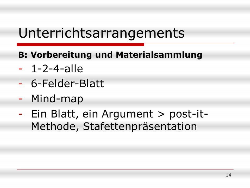 Unterrichtsarrangements