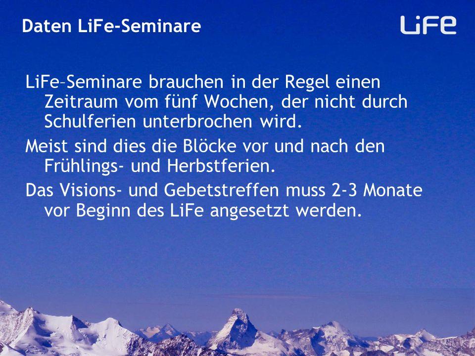 Daten LiFe-Seminare LiFe–Seminare brauchen in der Regel einen Zeitraum vom fünf Wochen, der nicht durch Schulferien unterbrochen wird.