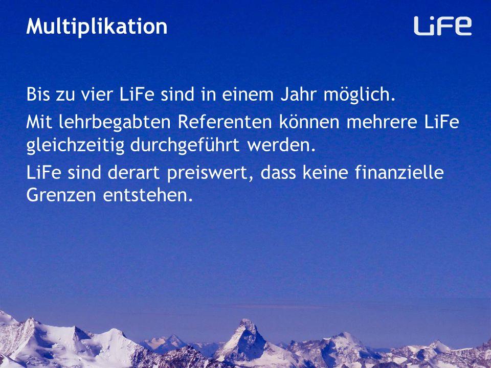 Multiplikation Bis zu vier LiFe sind in einem Jahr möglich.