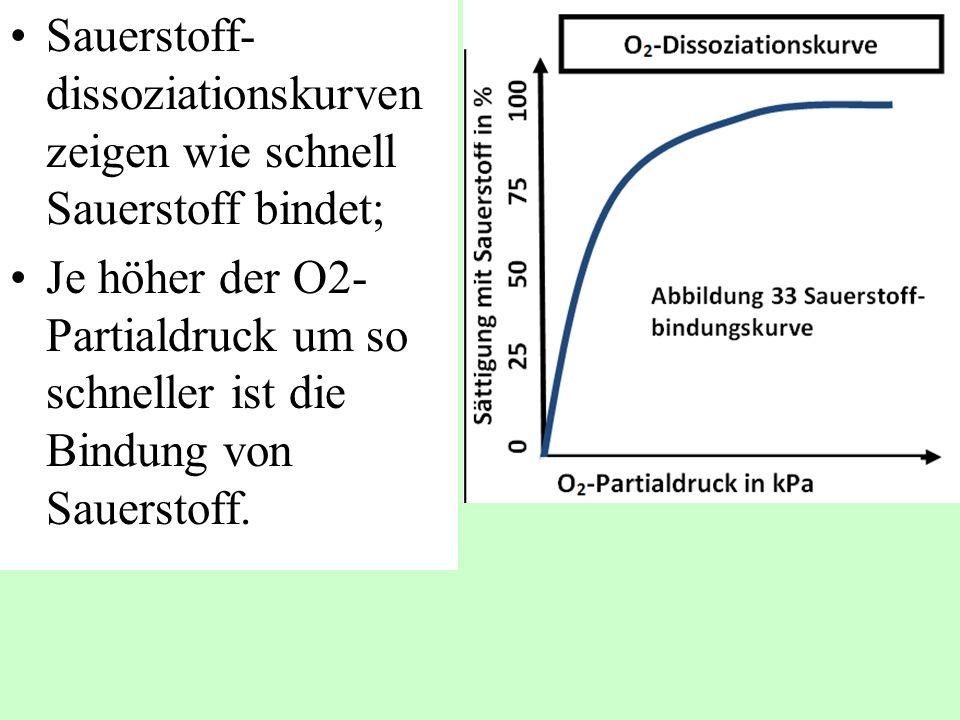 Sauerstoff-dissoziationskurven zeigen wie schnell Sauerstoff bindet;