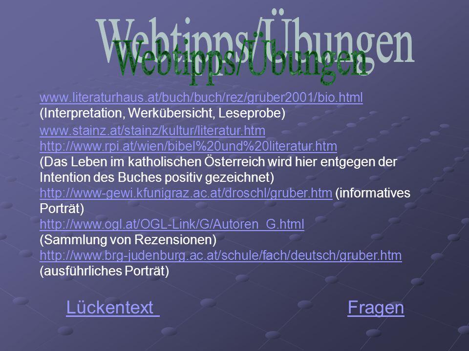Webtipps/Übungen Lückentext Fragen
