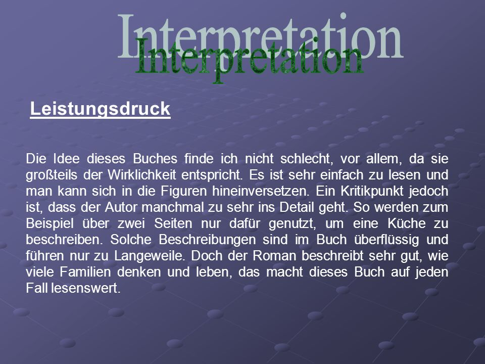 Interpretation Leistungsdruck