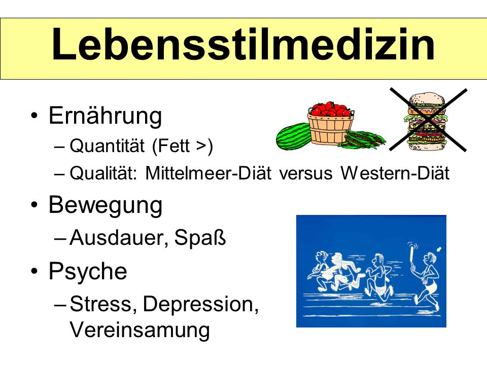Lebensstilmedizin Ernährung Bewegung Psyche Ausdauer, Spaß