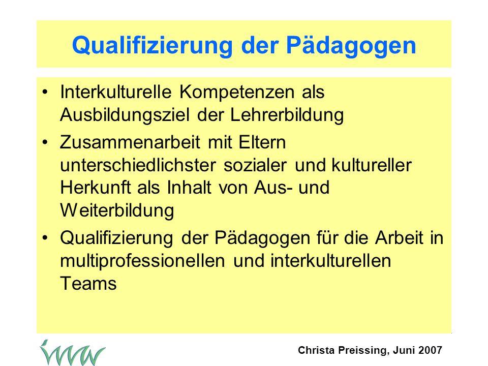 Qualifizierung der Pädagogen