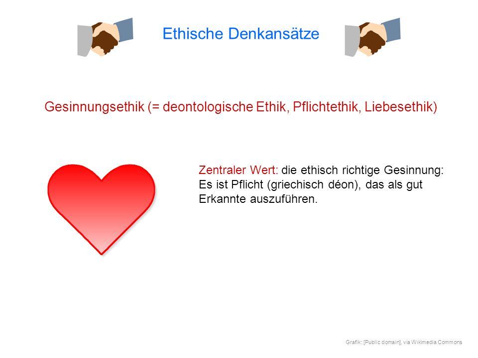Ethische Denkansätze Gesinnungsethik (= deontologische Ethik, Pflichtethik, Liebesethik)