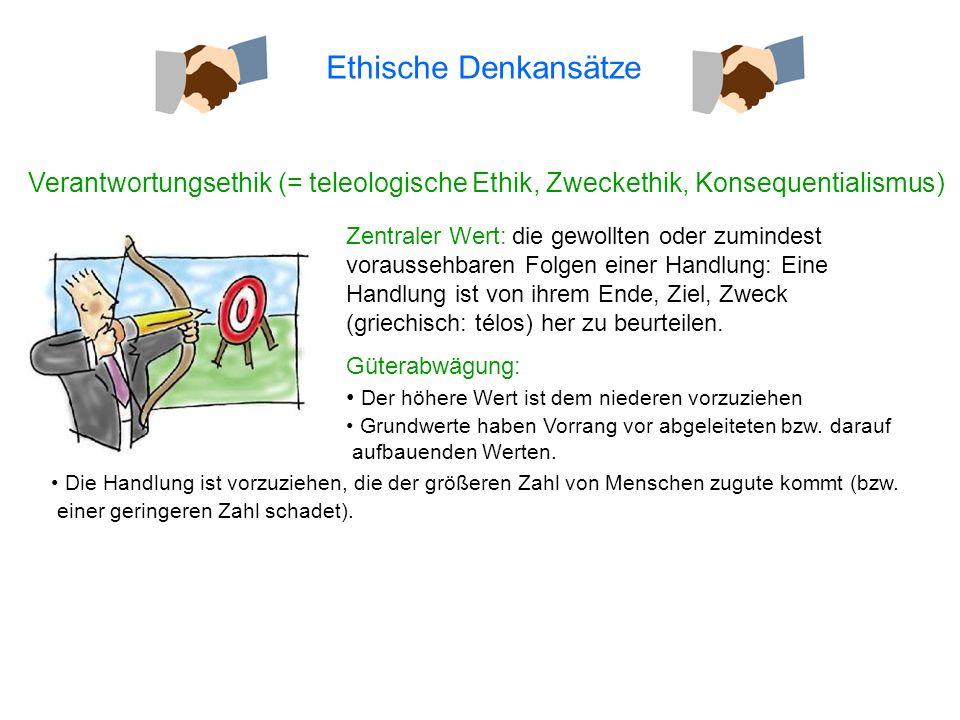 Ethische Denkansätze Verantwortungsethik (= teleologische Ethik, Zweckethik, Konsequentialismus)