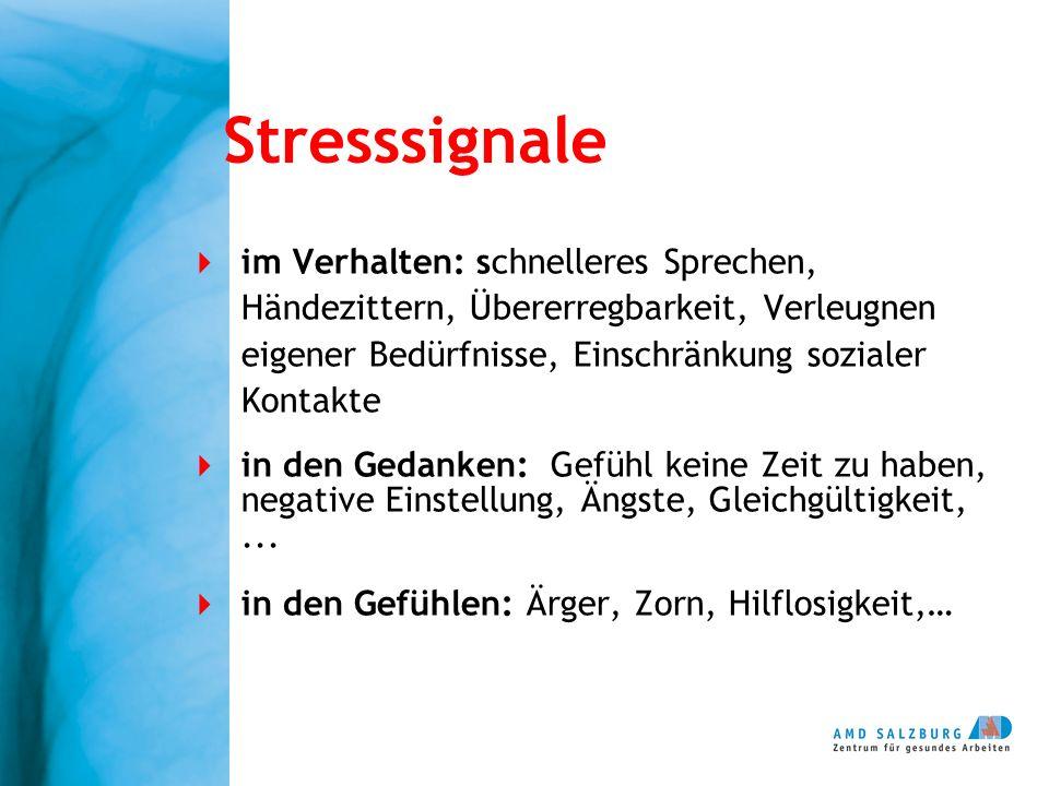 Stresssignale im Verhalten: schnelleres Sprechen, Händezittern, Übererregbarkeit, Verleugnen eigener Bedürfnisse, Einschränkung sozialer Kontakte.
