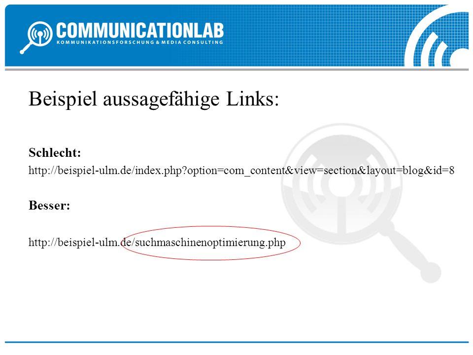 Beispiel aussagefähige Links: