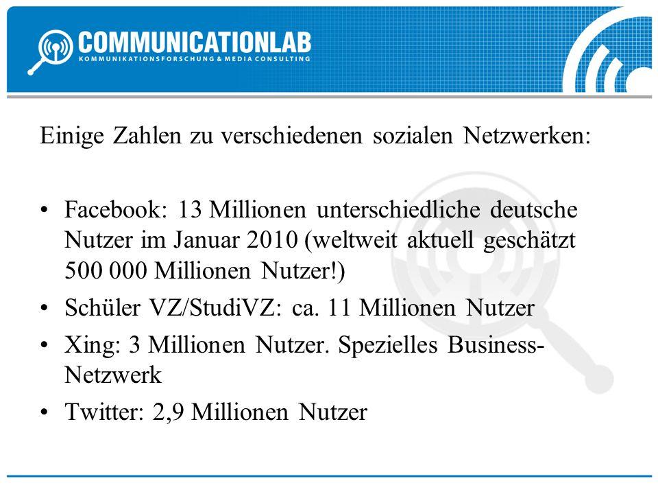 Einige Zahlen zu verschiedenen sozialen Netzwerken:
