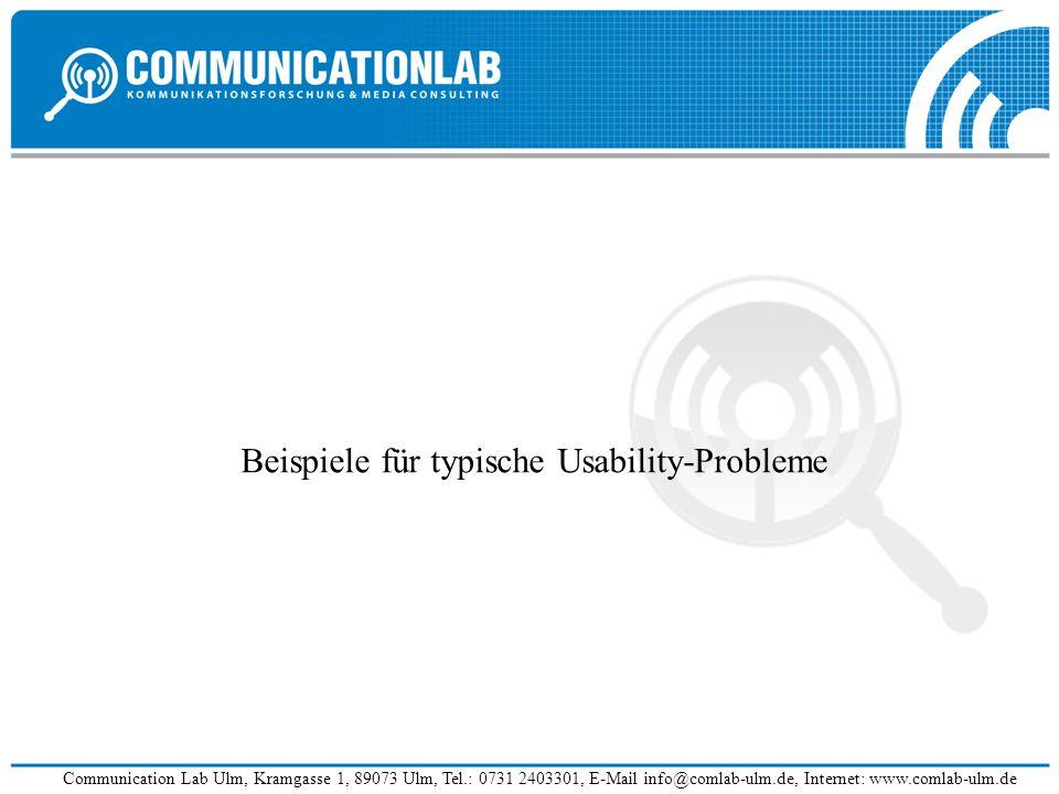 Beispiele für typische Usability-Probleme