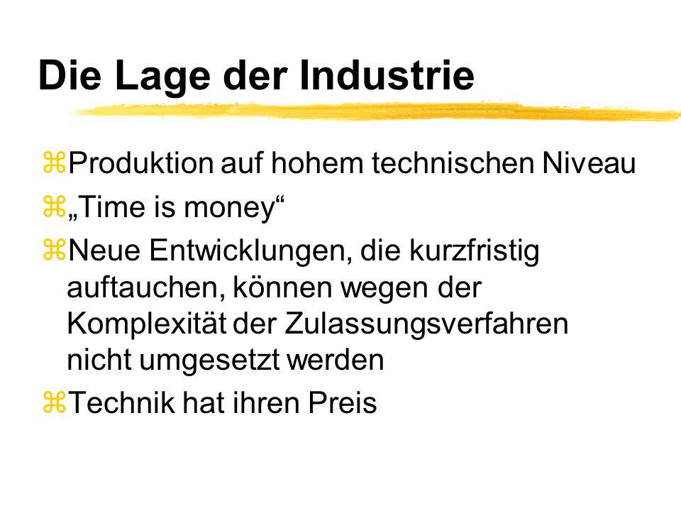 Die Lage der Industrie Produktion auf hohem technischen Niveau
