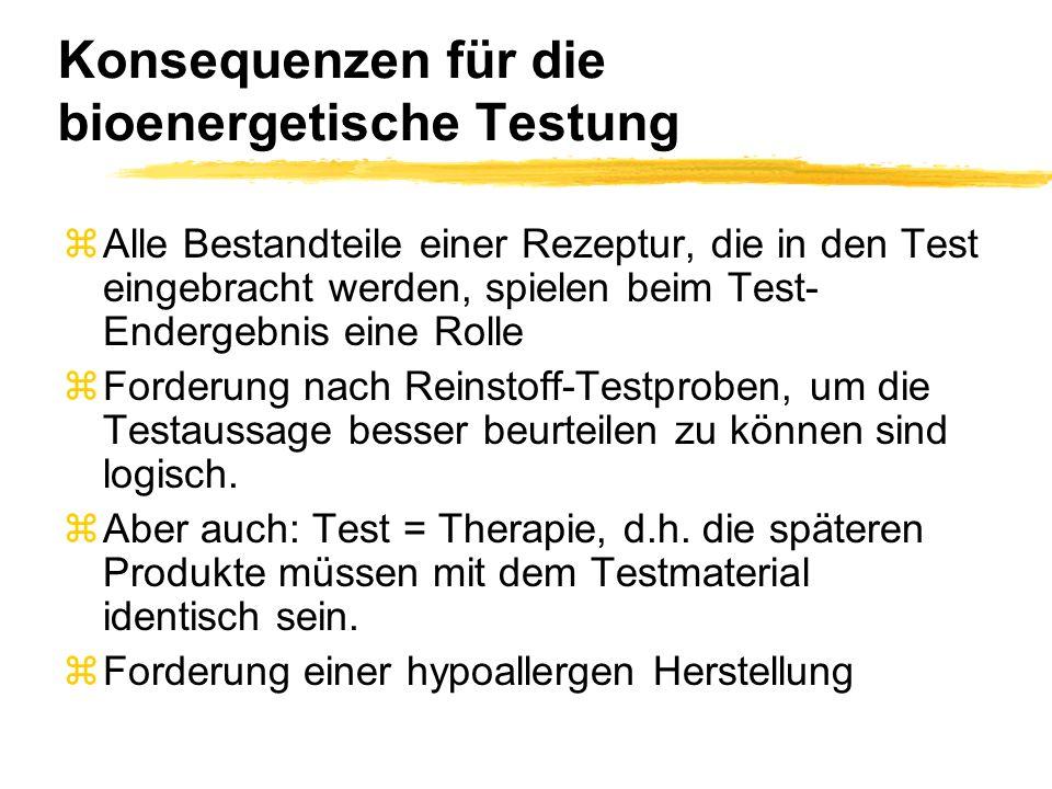 Konsequenzen für die bioenergetische Testung