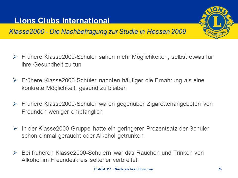 Klasse2000 - Die Nachbefragung zur Studie in Hessen 2009