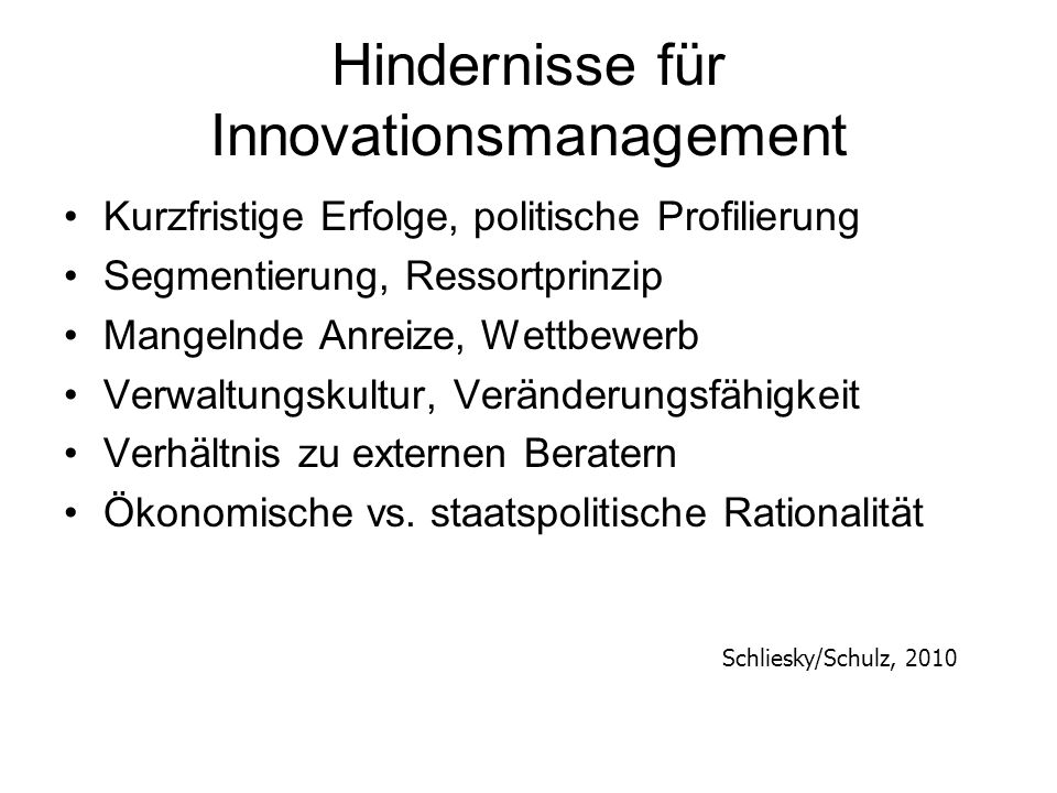 Hindernisse für Innovationsmanagement