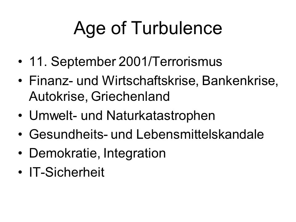 Age of Turbulence 11. September 2001/Terrorismus