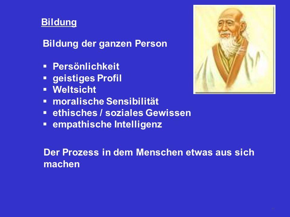 Bildung Bildung der ganzen Person. Persönlichkeit. geistiges Profil. Weltsicht. moralische Sensibilität.