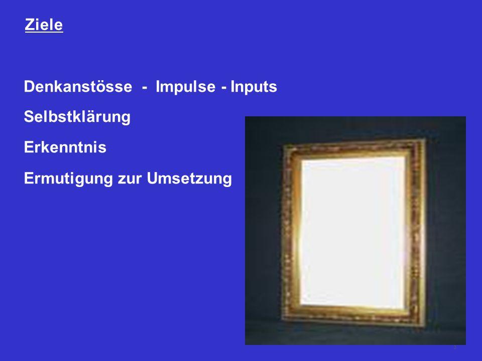 Ziele Denkanstösse - Impulse - Inputs Selbstklärung Erkenntnis Ermutigung zur Umsetzung