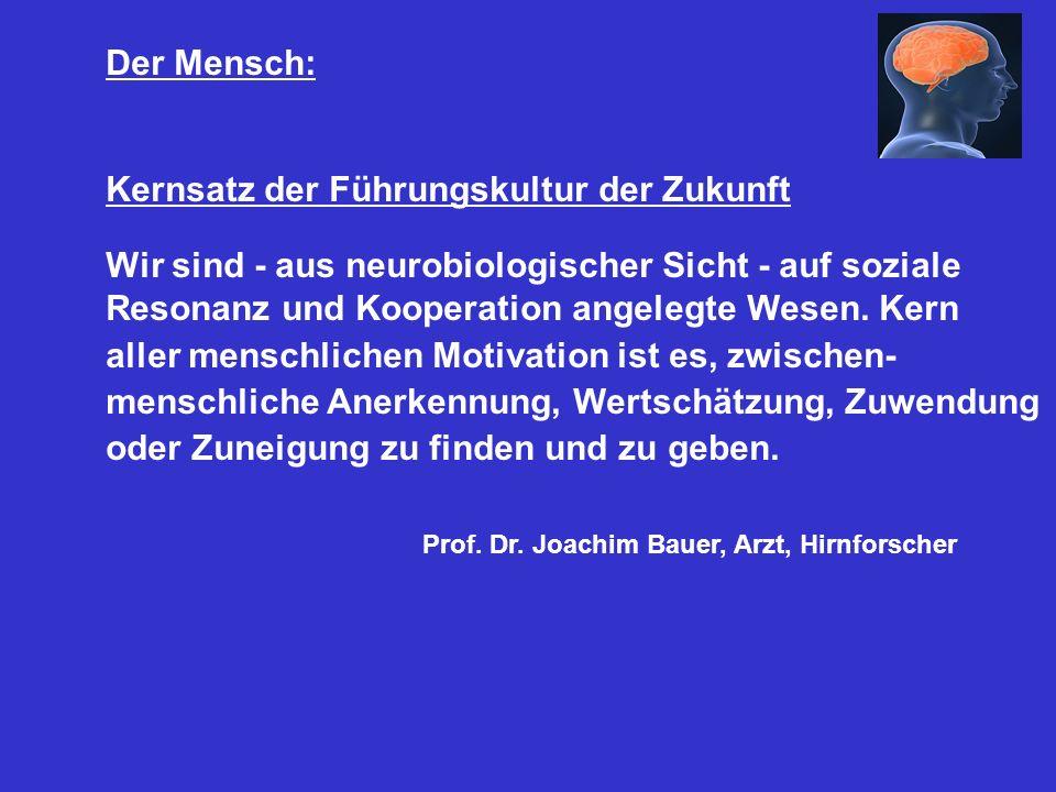 Der Mensch: Kernsatz der Führungskultur der Zukunft. Wir sind - aus neurobiologischer Sicht - auf soziale.