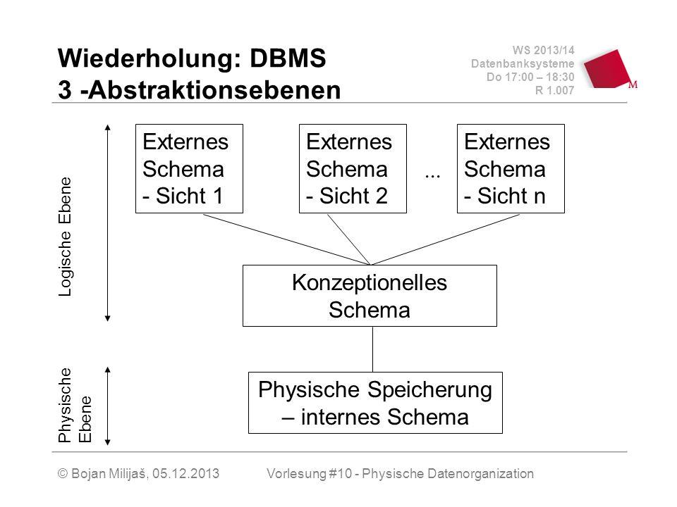Wiederholung: DBMS 3 -Abstraktionsebenen