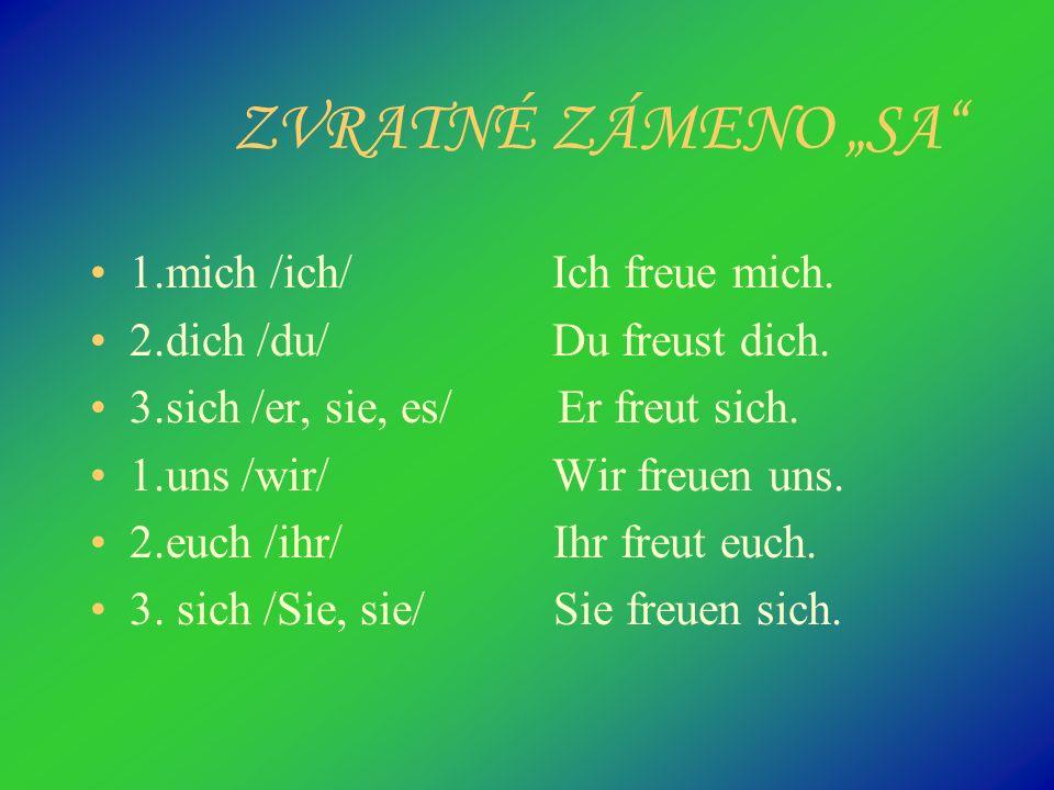 """ZVRATNÉ ZÁMENO """"SA 1.mich /ich/ Ich freue mich."""