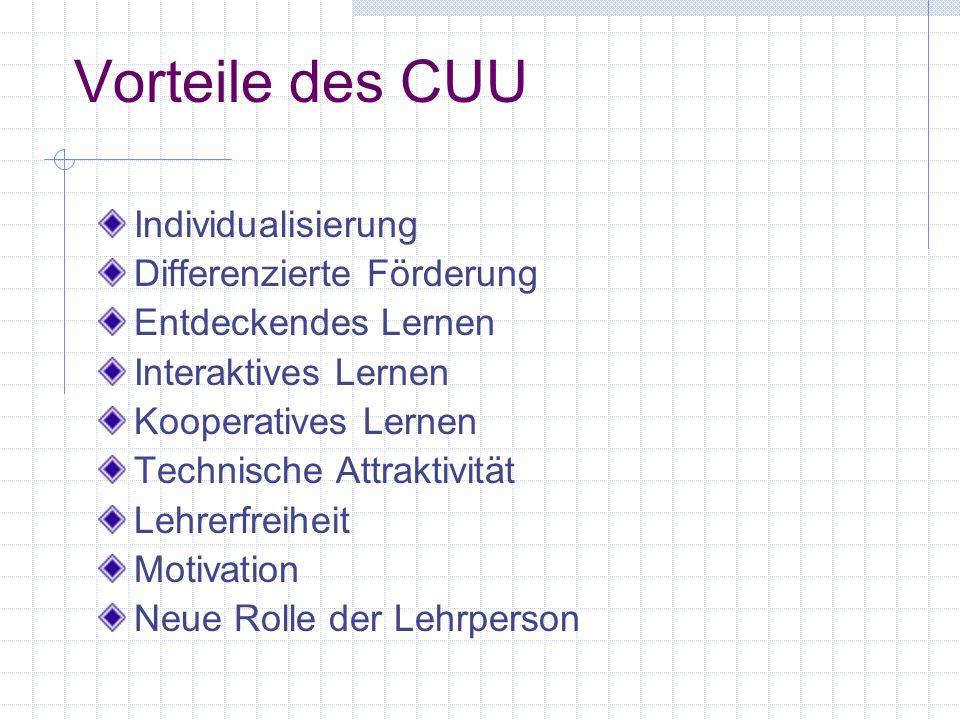 Vorteile des CUU Individualisierung Differenzierte Förderung