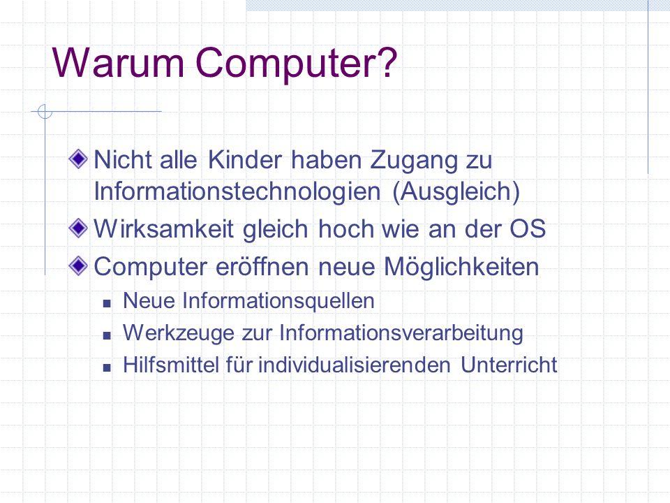 Warum Computer Nicht alle Kinder haben Zugang zu Informationstechnologien (Ausgleich) Wirksamkeit gleich hoch wie an der OS.