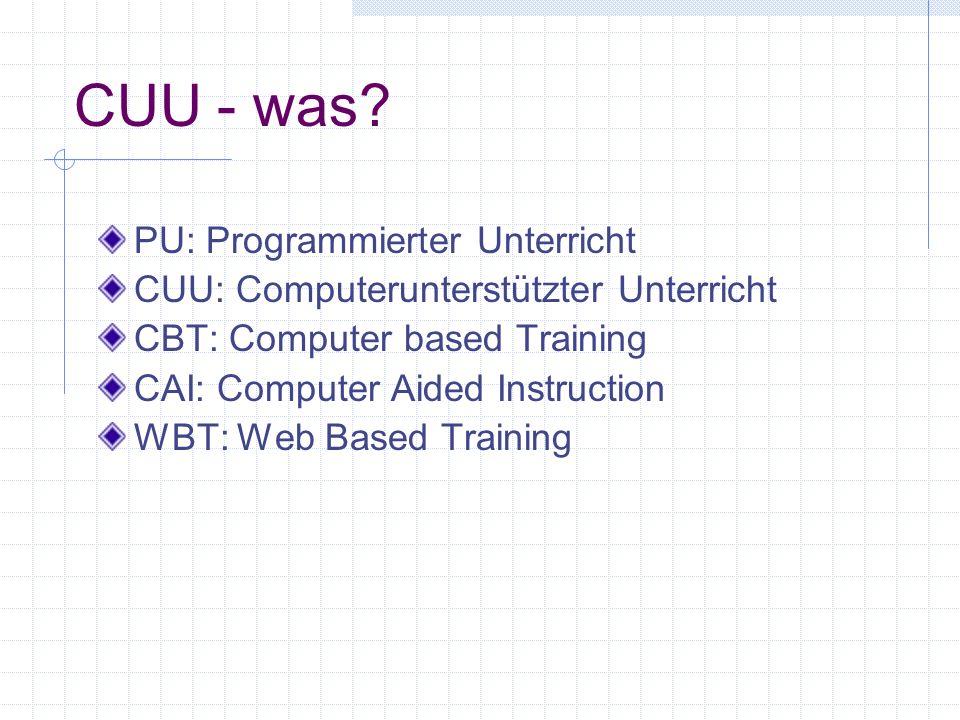 CUU - was PU: Programmierter Unterricht