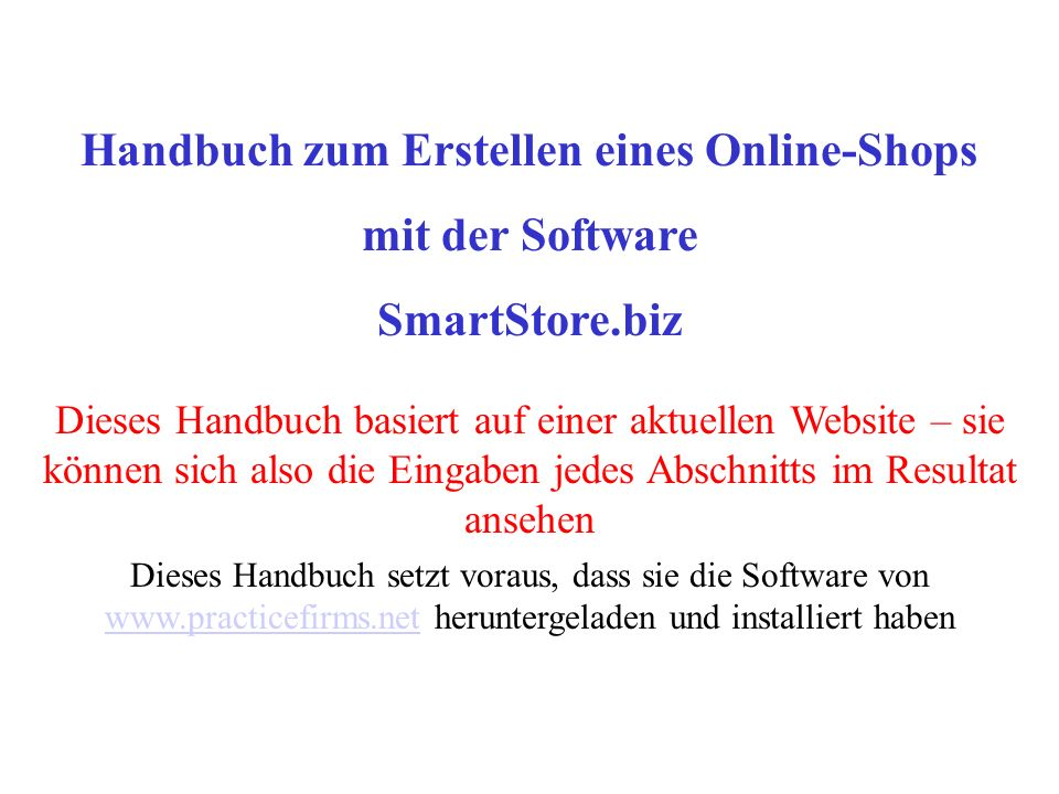 Handbuch zum Erstellen eines Online-Shops