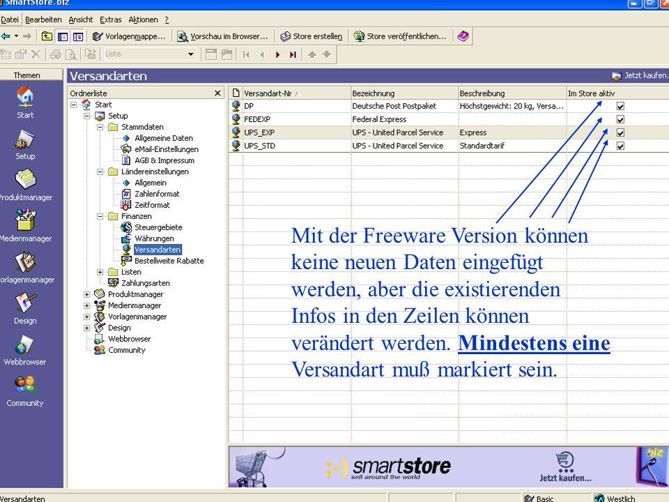 Mit der Freeware Version können keine neuen Daten eingefügt werden, aber die existierenden Infos in den Zeilen können verändert werden.