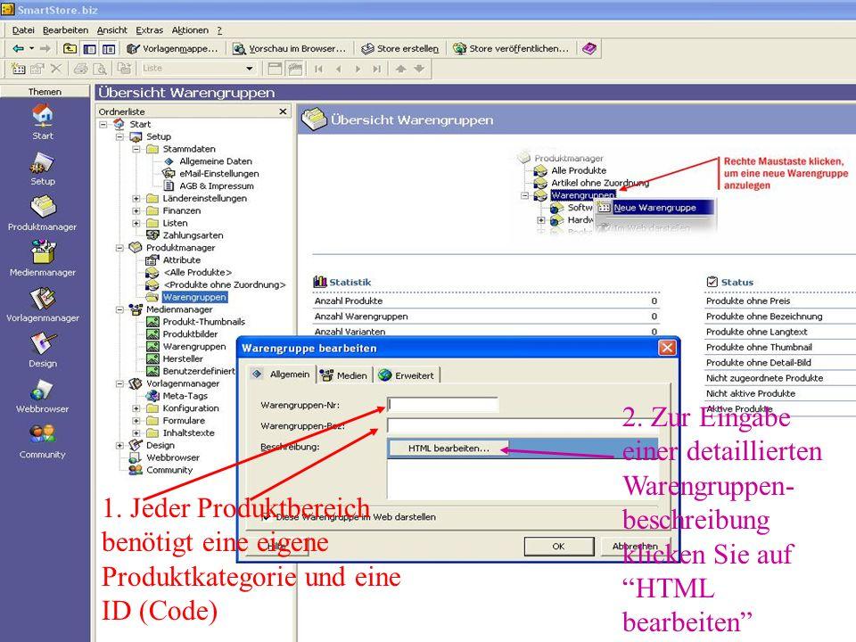 2. Zur Eingabe einer detaillierten Warengruppen-beschreibung klicken Sie auf HTML bearbeiten